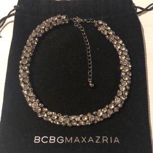 BCBG Crystal Collar Necklace Gunmetal Silver